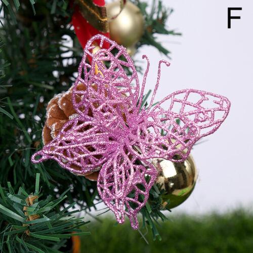 4Pcs Glitter Hollow Wedding Party Christmas Flowers Xmas Tree Decor Butterfly ca