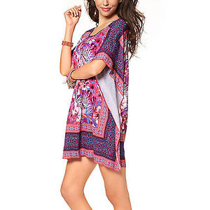 SOMMER-TUNIKA-Kleid-Gr-36-38-S-M-PINK-MINI-STRANDKLEID-Cape