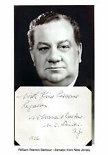 William W. Barbour Autograph Sentiment Senator New Jersey Metal Honor Boxing