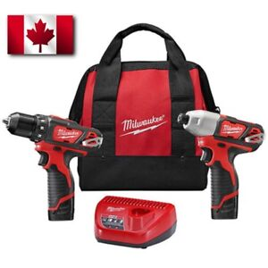 New Milwaukee 2494-22 M12 Cordless Combo Drill/ Driver Kit 2 Battery Charger