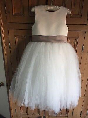 Avorio Raso Damigella Flower Girl Dress Top Quality Hand Made Età 6-mostra Il Titolo Originale