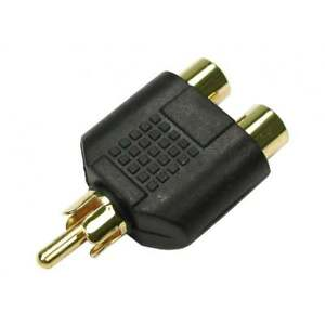 RCA-Phono-Y-Splitter-Adaptor-Connector-2-x-Female-to-1-x-Male-Audio-Video-GOLD