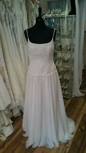 Modeca-Terlago-Bohemian-Style-Lace-Wedding-Dress-Ivory-Mocha-Lining-Size-12-New