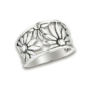 Ring New .925 Sterling Silver Filigree Flower Cutout Band