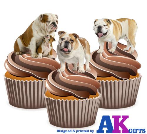 12 X Fun Cute British Bulldog Mix EDIBLE CUPCAKE CAKE TOPPERS STAND UPS