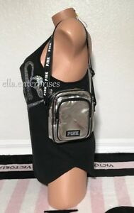 42d9628b270 Details about Victoria's Secret Pink Metallic Silver Black White Sport  Crossbody Bag
