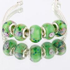 5pcs MURANO 925 silver plated glass bead LAMPWORK For European Charm Bracelet
