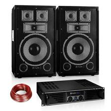 "PA DJ STUDIO SOUND MUSIK ANLAGE 10"" LAUTSPRECHER PAAR 19"" RACK ENDSTUFE 1200W"