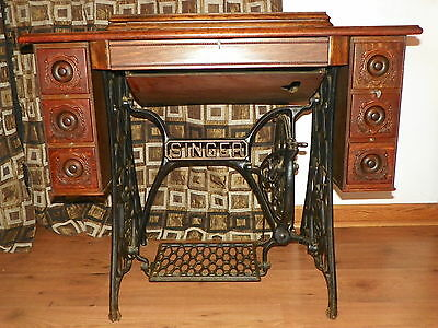 Antique Singer Treadle Sewing Machine Cabinet And Cast Iron Base - 1918 - Vintage And Antique Sewing Machines Collection On EBay!