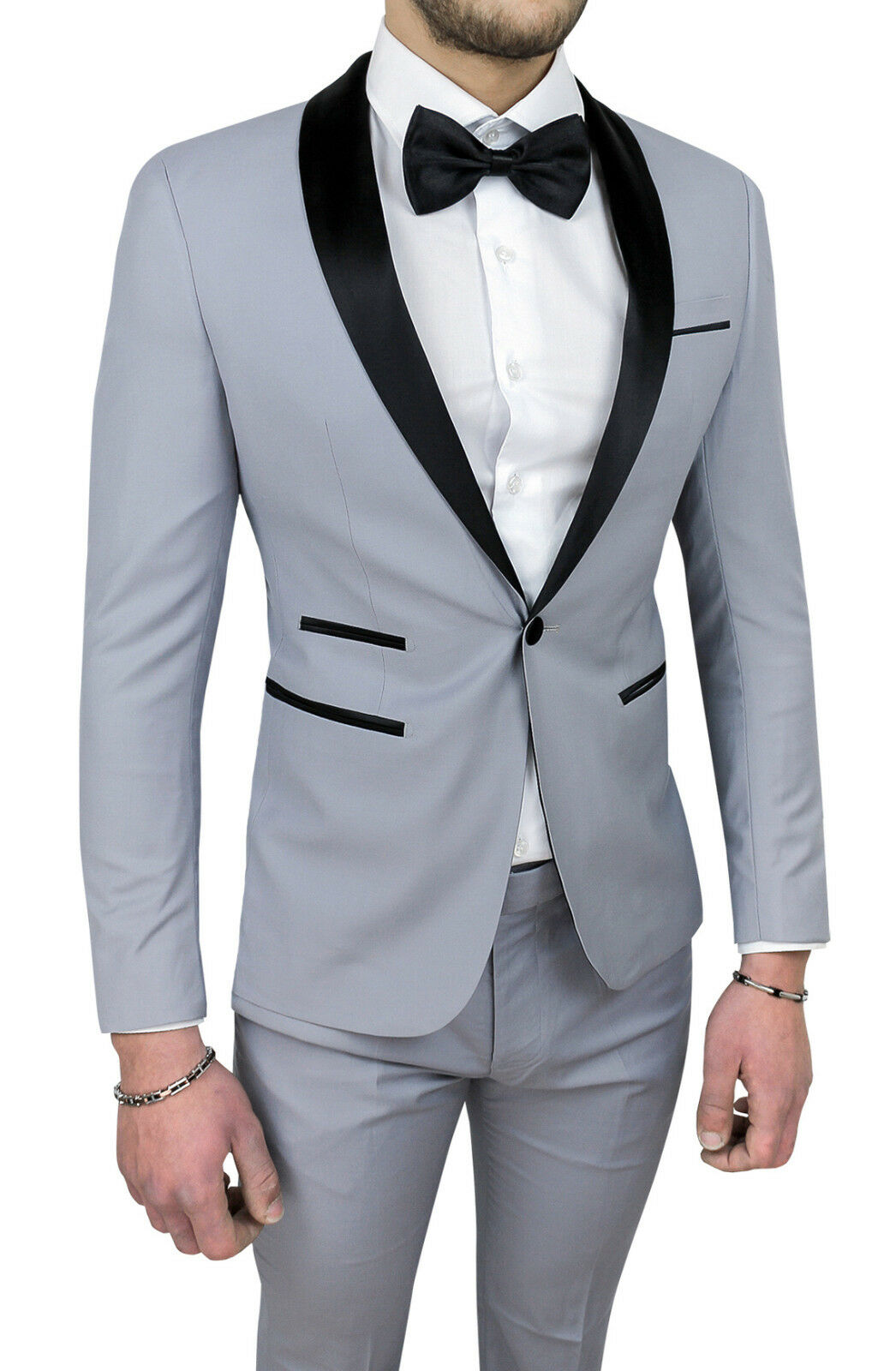 Men's Men's Men's Suit Diamond Satin grau Sartorial Set Elegante Dress Zeremonie b57