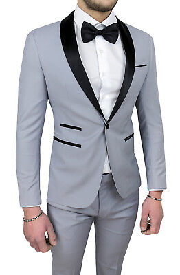 Vestiti Uomo Eleganti.Mens Diamond Dress Grey Satin Sartorial Full Suit Ceremony Ebay