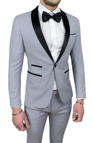 MEN'S SUIT DIAMOND SATIN GREY SARTORIALE SET DRESS ELEGANT CEREMONY