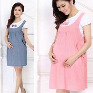 981f4d093f 2018 Maternity Dress Bow Clothes For Pregnant Women Pregnancy Denim ...