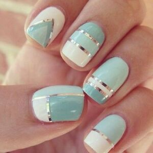 Nail-Art-Lace-Stickers-Decals-Transfers-SILVER-Lace-Strips-Decoration-Gel-Polish