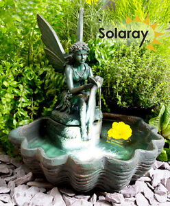 fontaine solaire figurine statue petite f e coquillage. Black Bedroom Furniture Sets. Home Design Ideas