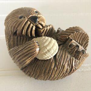 Vintage Otter & Shell Artesania Rinconada Figurine Uruguay Art Pottery Handmade