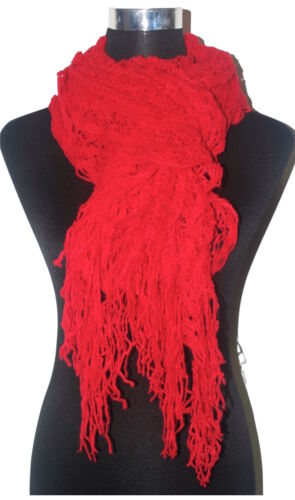 Winterschal Strickschal Damenschal Halstuch Tuch mit langen Fransen Uni-Farbe