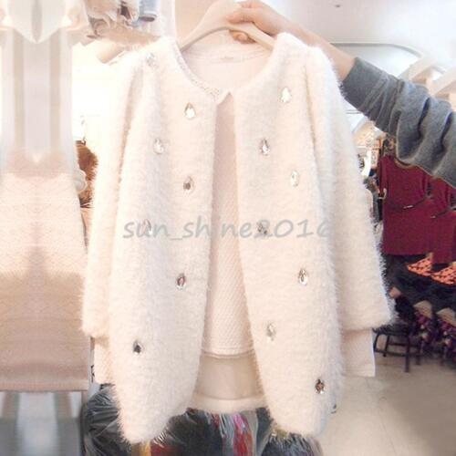 Womens Round Collars Coat warm elegant chic  White Fur Woolen Cashmere Outerwear