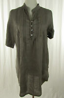 Schicke, leichte Leinenbluse Gr. M (38-40)  grau Damen Bluse Blouse Blusa