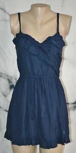 ABERCROMBIE & FITCH Navy Blue Mini Sun Dress Small Ruffle Trim Lined Drawstring