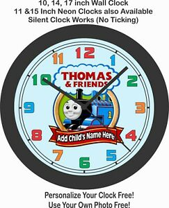 THOMAS-amp-FRIENDS-WALL-CLOCK-ADD-CHILD-039-S-NAME-FREE-CHOOSE-FOR-BOY-OR-GIRL