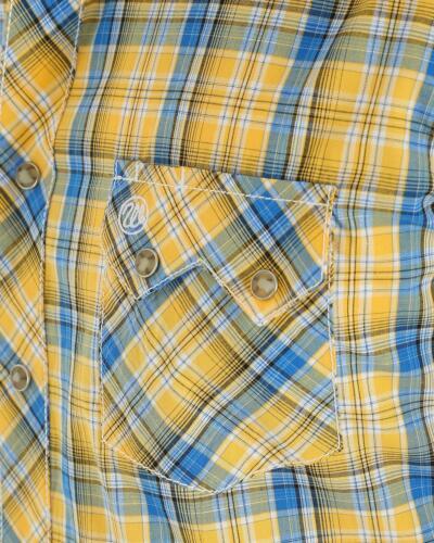 Wrangler Retro Men/'s Yellow Plaid Sawtooth Pearl Snap Short Sleeve Shirt MVR333M