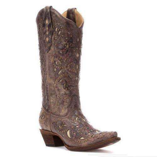 LADIES CORRAL COWGIRL BOOTS  BROWN STUDDED STUDDED STUDDED WITH CREAM INLAY  A1098  NIB 3f29b4