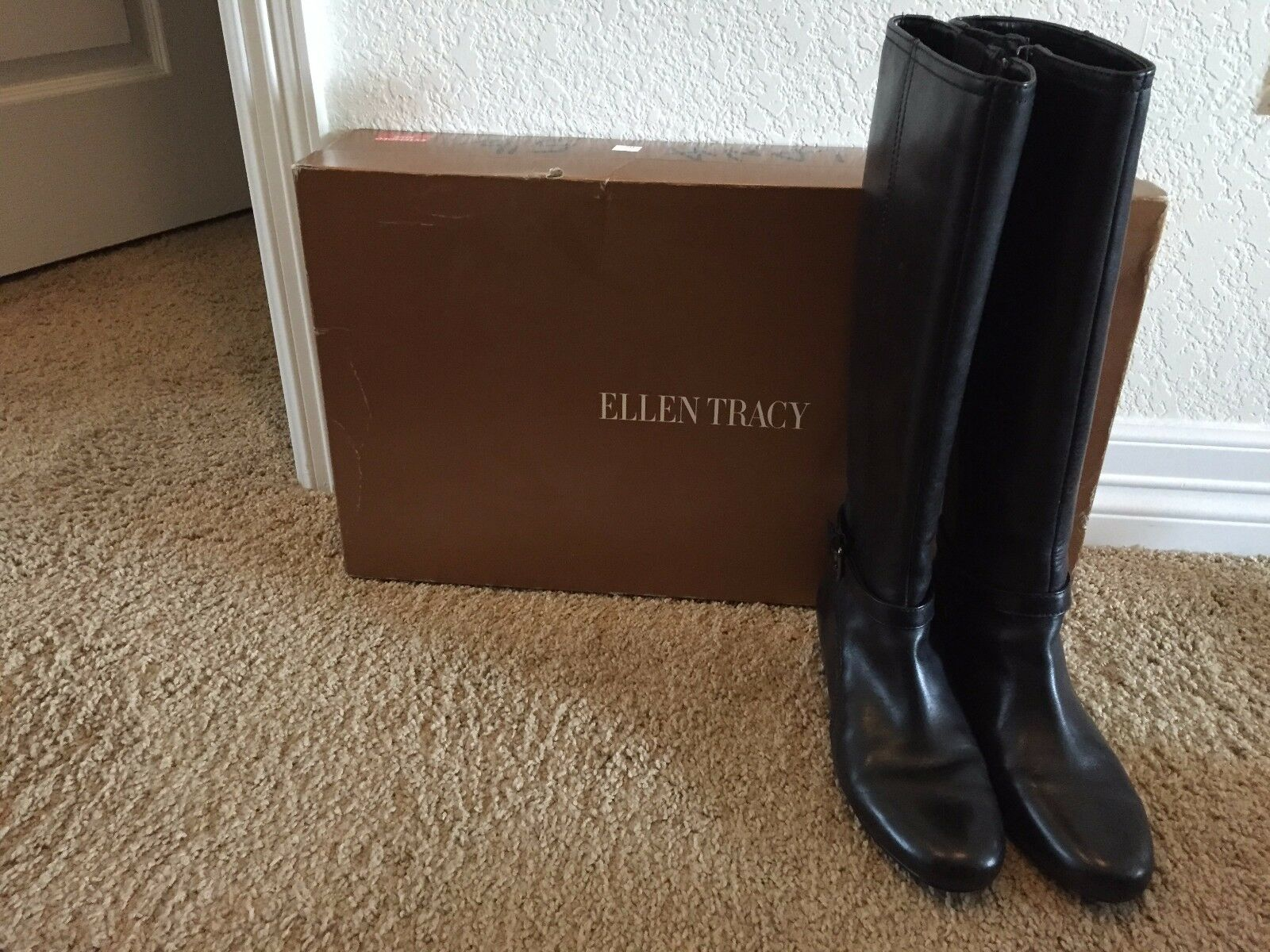 Ellen Tracy Women's EB-LANA Tall Black Leather Boots Size 5.5