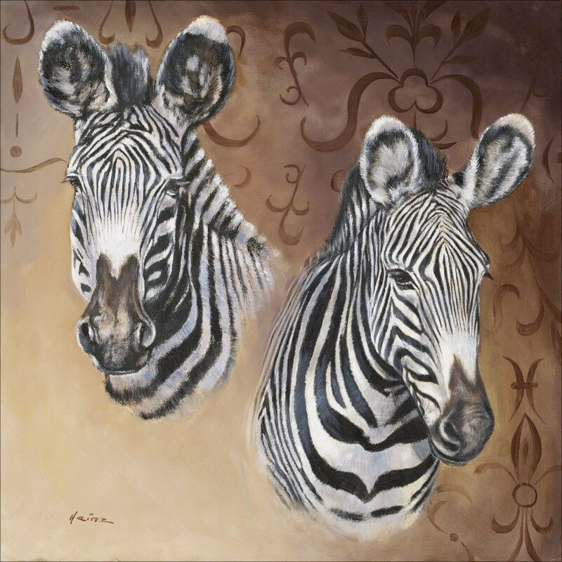 Wandbilder selbstklebend A. Heins Tiere Wildtiere Zebra Malerei Braun A1ZP