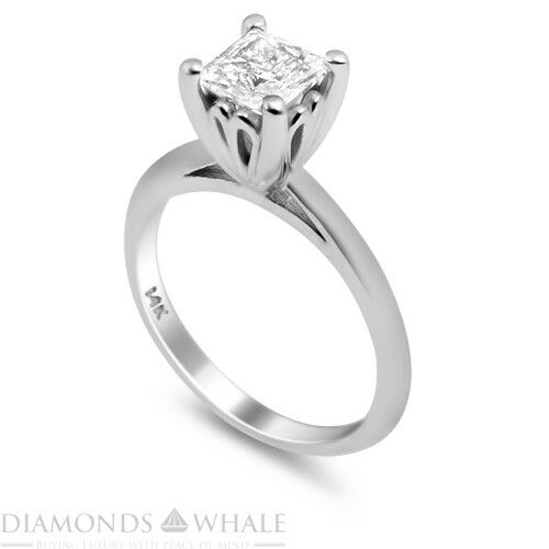 0.4 Carat White gold 18K Diamond Ring Princess Cut SI1 F Wedding, Enhanced