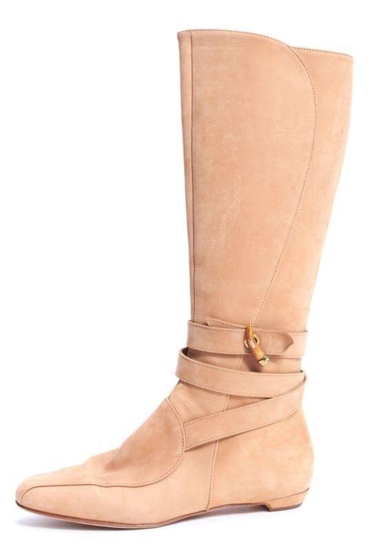 JIMMY CHOO Beige Suede Nubuck Leather Flat Knee-high Boots EU 39 UK 6 6.5 US 9