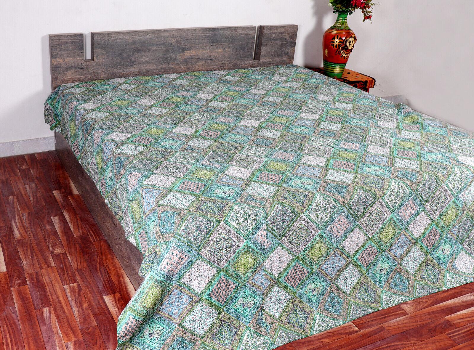 New Kantha Quilt Twin Size Bedsheet Handmade Throw Green Floral Bedcover Gudri