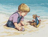 Cross Stitch Kit Janlynn Seashore Fun Little Boy & Teddy Bear 029-0057