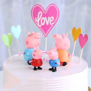 Stupendous Set 4 Pig Cake Toppers Plastic Figures Birthday Peppa George Funny Birthday Cards Online Overcheapnameinfo