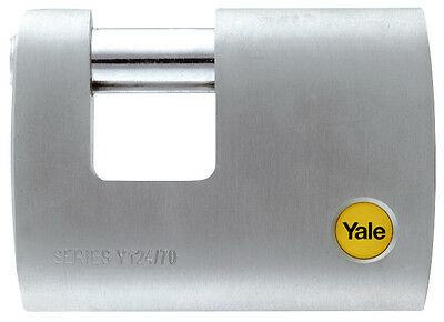 YALE HIGH SECURITY STRAIGHT SHACKLE SHUTTER PADLOCK 70mm - BORON SHACKLE