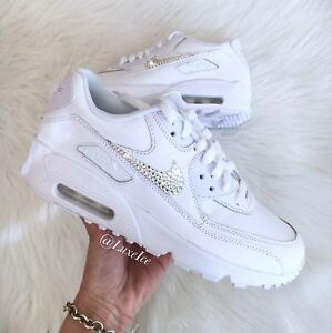 48599625b085a Details about Nike Air Max 90 White customized with SWAROVSKI® Xirius  Rose-Cut Crystals.