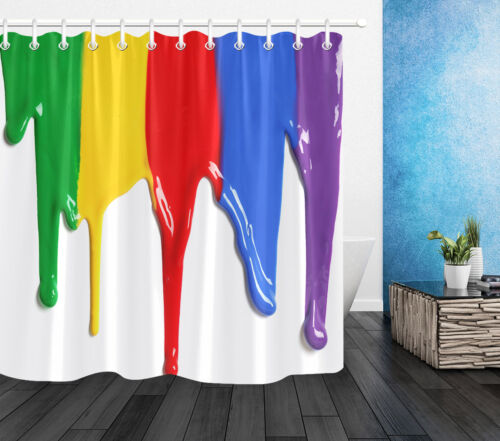 Colorful Paint Dripping Shower Curtain Set Polyester Waterproof Fabric /&12 Hooks