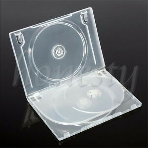 Standard-Clear-3-Disc-Holds-DVD-CD-Case-Movie-Box-Storage-Holder-Cover-14mm