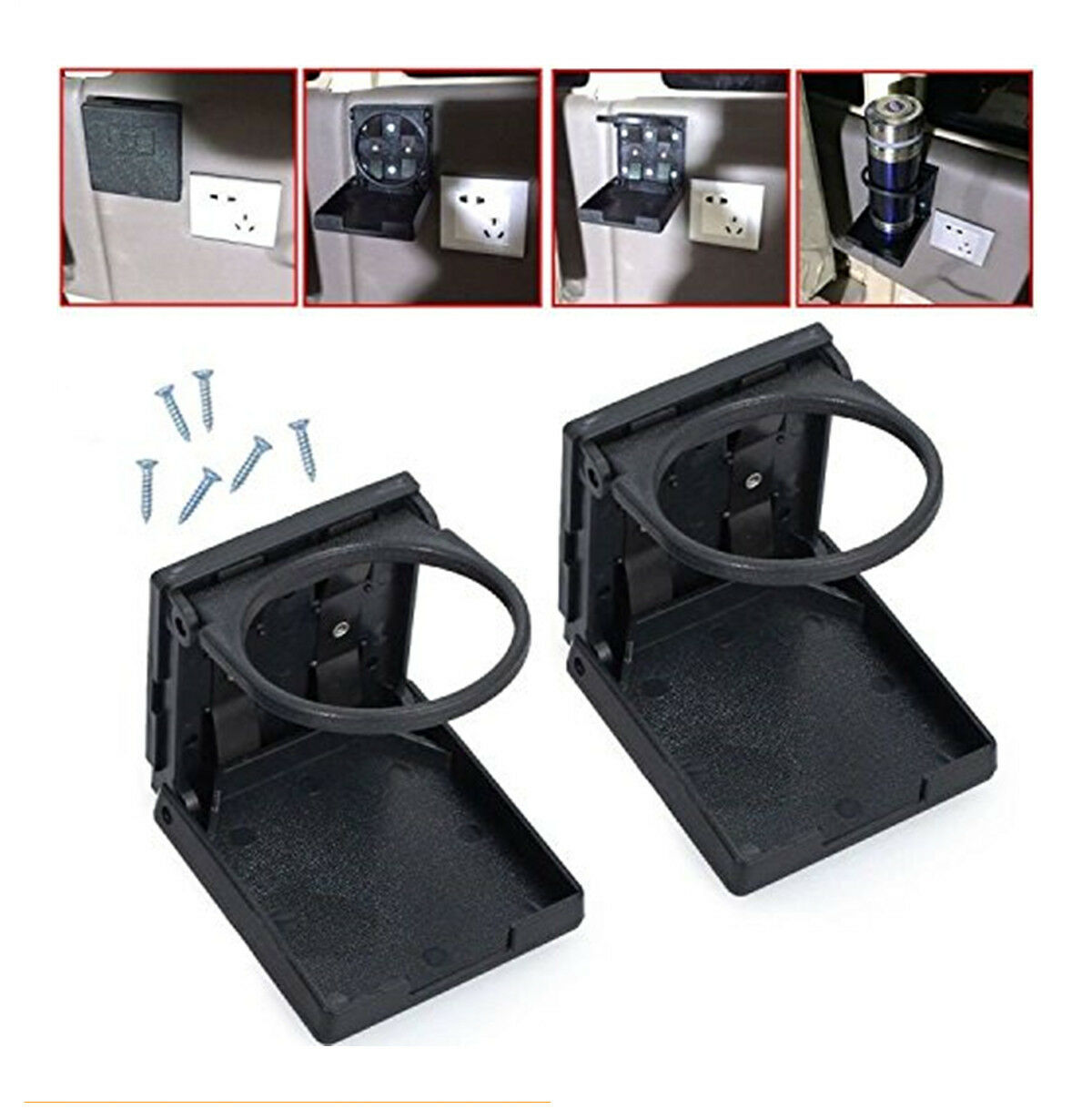 2pcs Boat Cup Holder Black Folding Car Cup Drink Holders with Screws and Double-sided Tapes for Car//Truck//RVs//Yacht//Caravan//Home Office