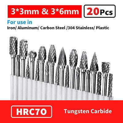 20pcs Carbide Rotary Tool Tungsten Point Burr Die Grinder Shank Set 3*3mm/&3*6mm