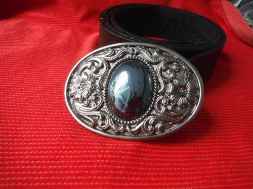 Celtic Nordic Gotico Fiore Ovale Gioiello Design Nero ART Fibbia Cintura in Pelle