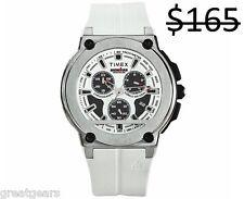 Timex Men Ironman Chronograph Tachymeter Triathlon Sports White Strap Watch