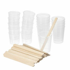 20 Pack 50ml 30ml Pp Plastic Graduated Beaker Clear With Wooden Stirring Sticks