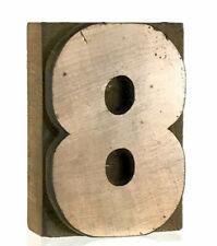 Number 8 Eight Vtg Wood Letterpress Print Type Printers Block Cut 25 2 12