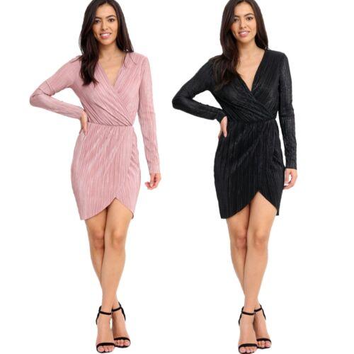 Ladies Long Sleeve Crimp Metallic Look Wrap V Neck Plunge Bodycon Mini Dress
