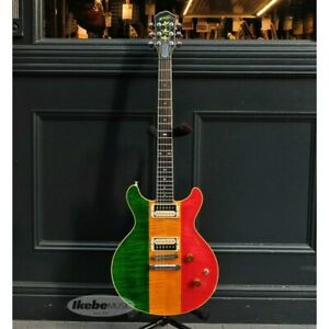 Ornetts GM6-R Rastafarian Color Double Cut Made in Japan HH Used Electric Guitar