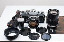 Olympus OM-1 Film Camera with OM-50mm f/1.4 + OM-135mm f/2.8 Manual Lenses.