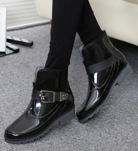 Fashion Women's Buckle Rain Boots Round Toe Waterproof Casual Shoes Ankle boots