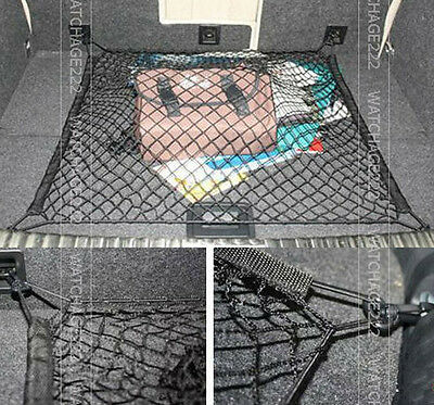 1PC REAR TRUNK BOOT FLOOR CARGO NET MESH LUGGAGE ELASTIC W/4 HOOK FLAT SCREEN