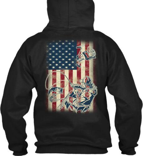 Bass Fishing Flag Gildan Hoodie Sweatshirt